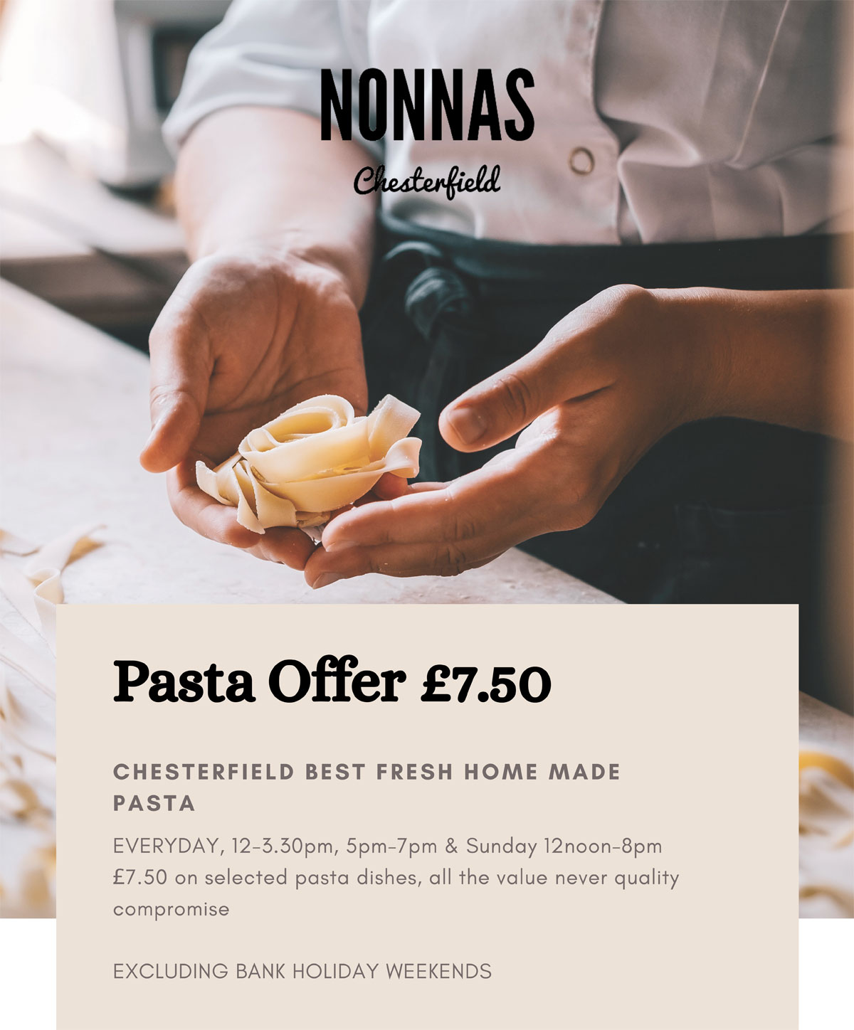 pasta offer restaurant Chesterfield