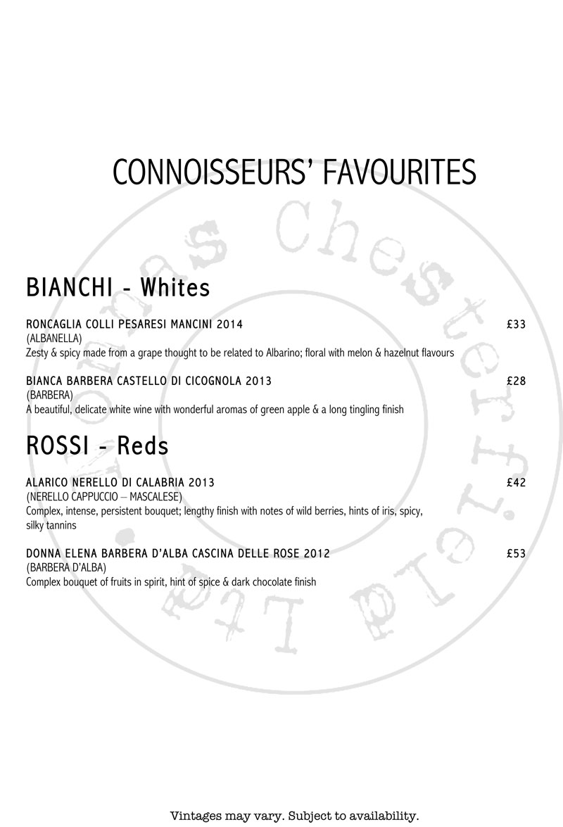 wine list restaurant bar chesterfield