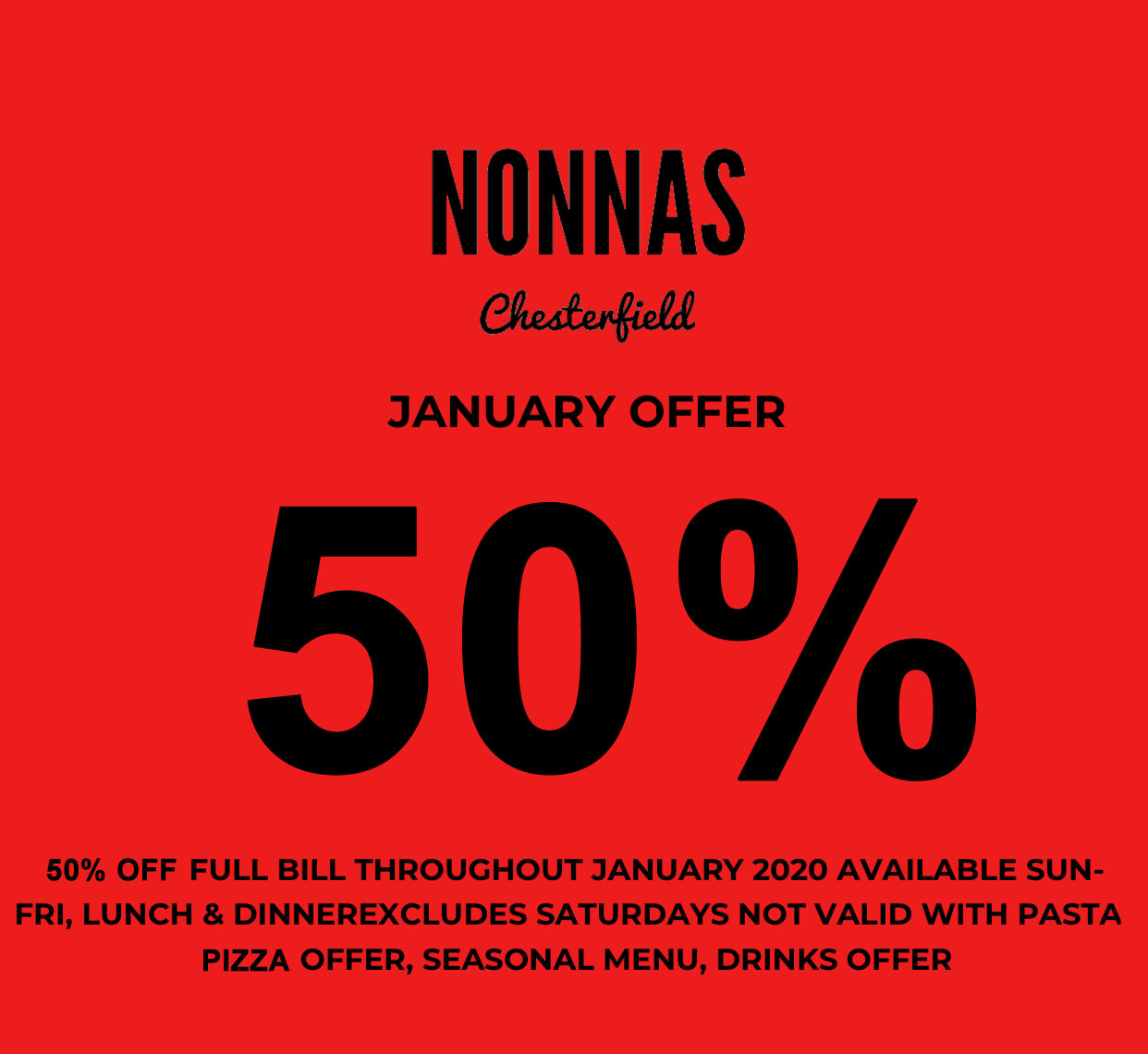 50% off your bill in January